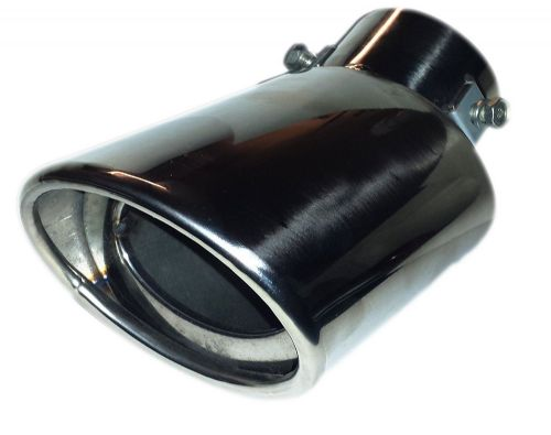 CHROME EXHAUST TIP OVAL TIP 178MM STAINLESS STEEL - SCREW / CLIP ON FITTING